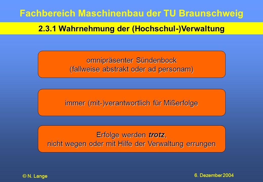 2.3.1 Wahrnehmung der (Hochschul-)Verwaltung