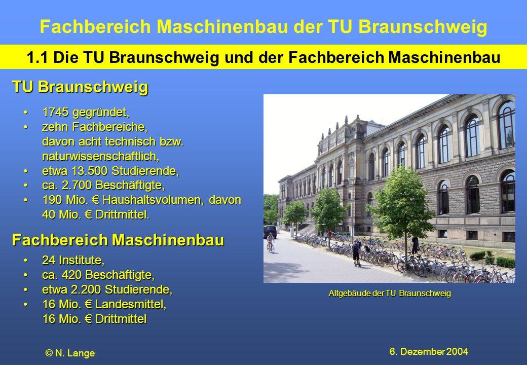 1.1 Die TU Braunschweig und der Fachbereich Maschinenbau