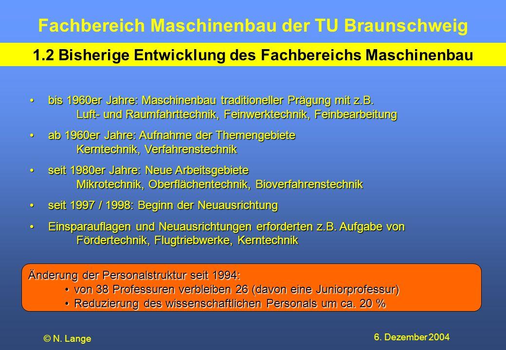 1.2 Bisherige Entwicklung des Fachbereichs Maschinenbau