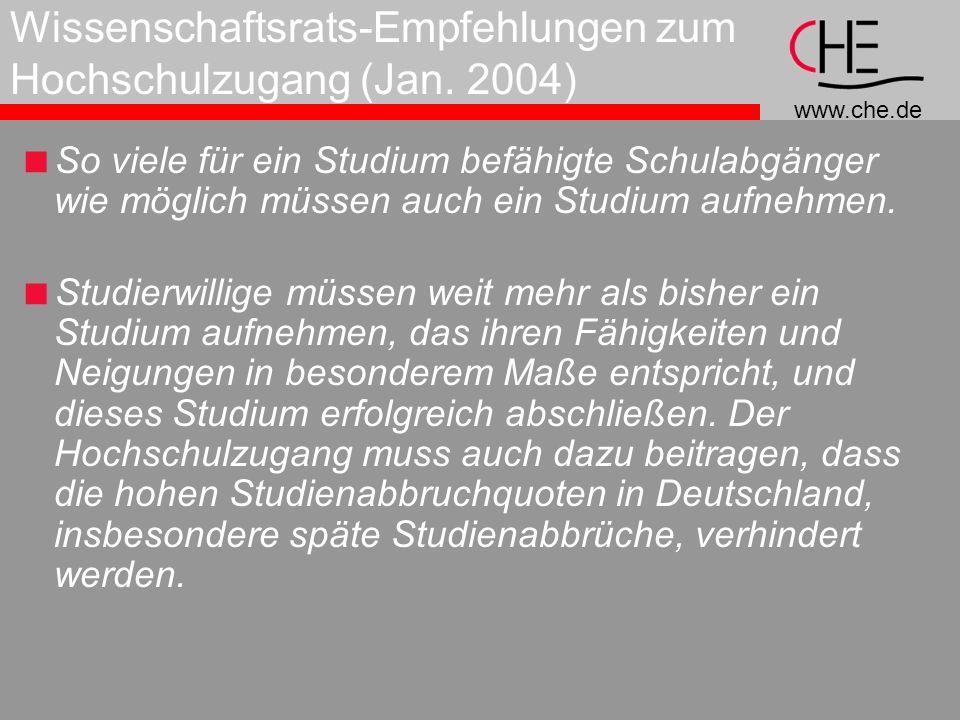 Wissenschaftsrats-Empfehlungen zum Hochschulzugang (Jan. 2004)