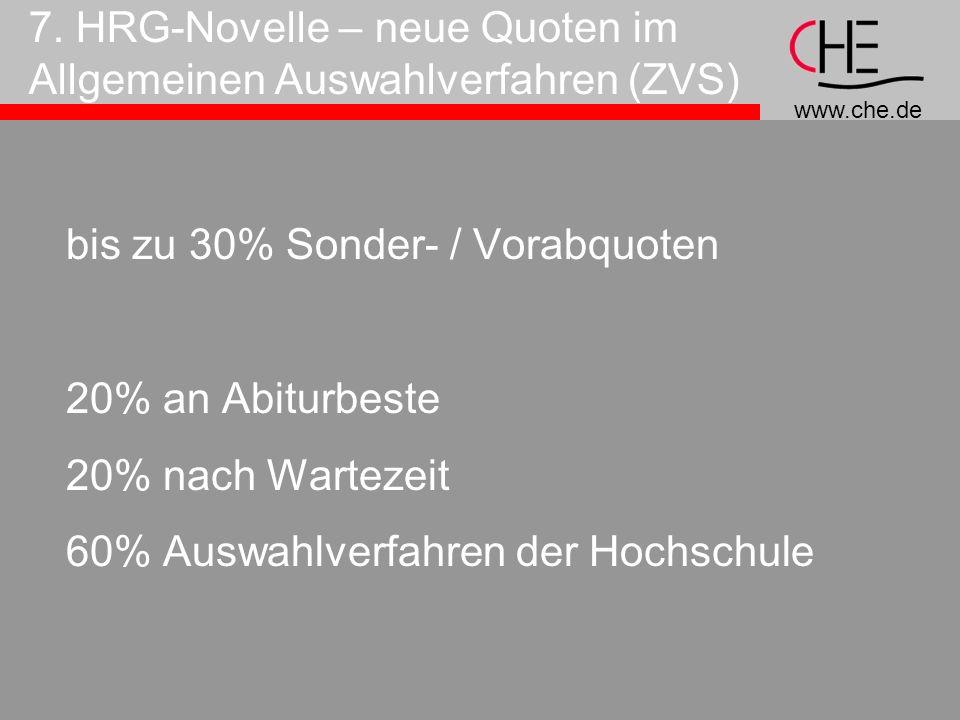 7. HRG-Novelle – neue Quoten im Allgemeinen Auswahlverfahren (ZVS)
