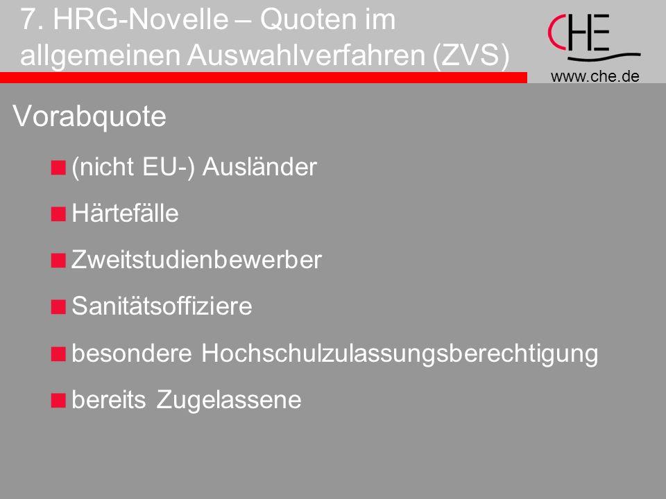 7. HRG-Novelle – Quoten im allgemeinen Auswahlverfahren (ZVS)