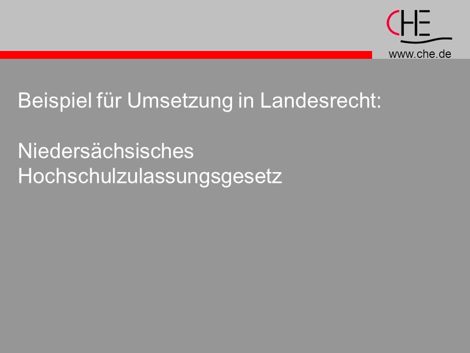 Beispiel für Umsetzung in Landesrecht: Niedersächsisches Hochschulzulassungsgesetz