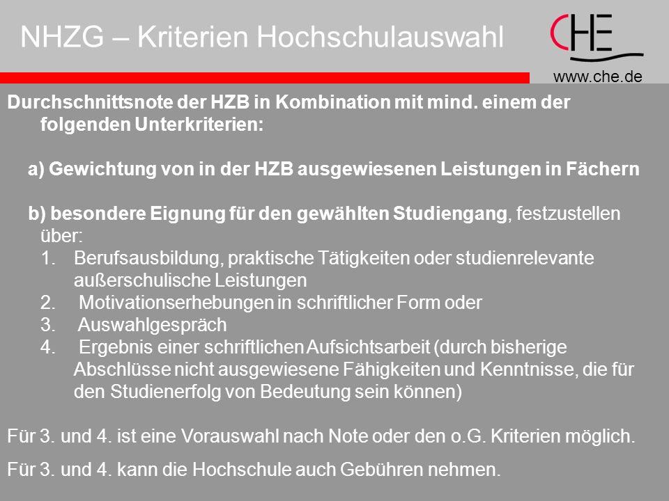NHZG – Kriterien Hochschulauswahl