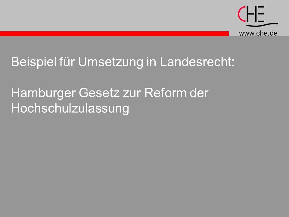 Beispiel für Umsetzung in Landesrecht: Hamburger Gesetz zur Reform der Hochschulzulassung