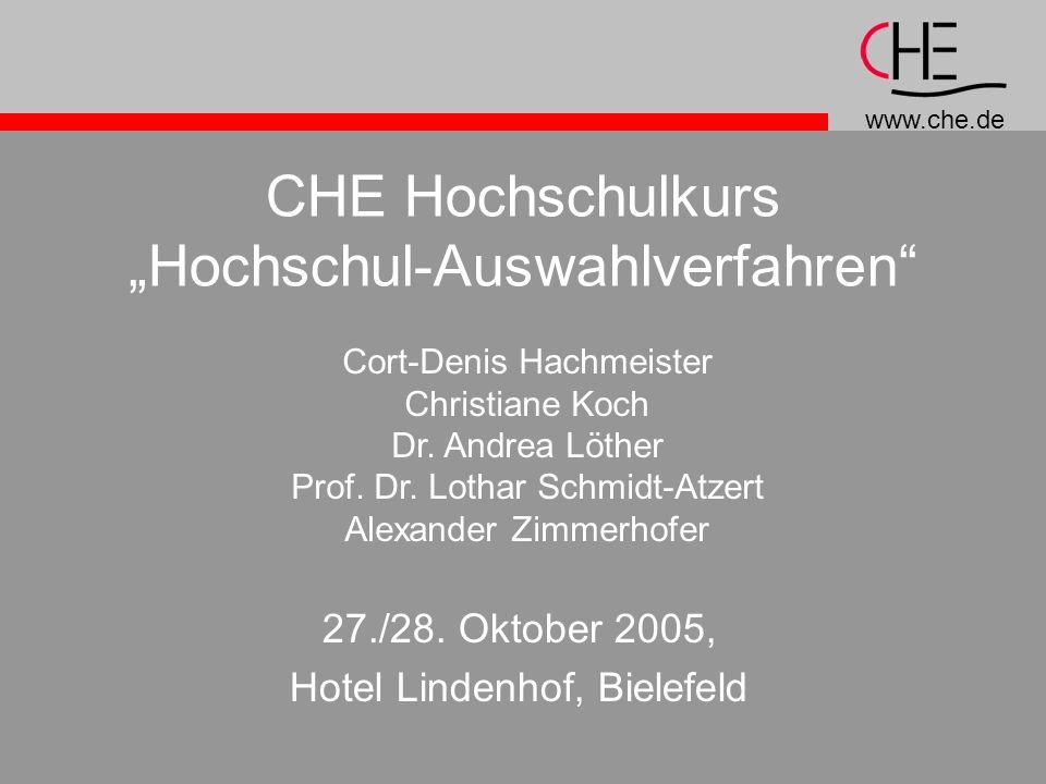 """CHE Hochschulkurs """"Hochschul-Auswahlverfahren"""