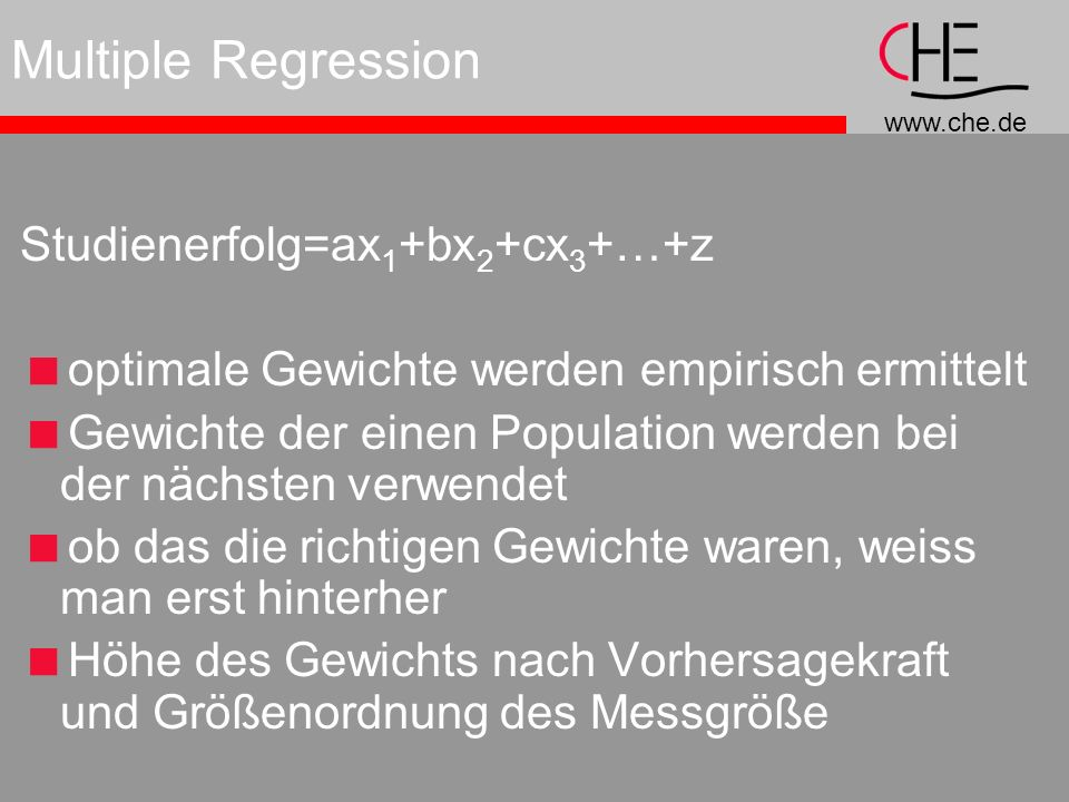 Multiple Regression Studienerfolg=ax1+bx2+cx3+…+z