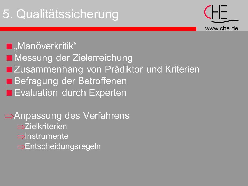 """5. Qualitätssicherung """"Manöverkritik Messung der Zielerreichung"""