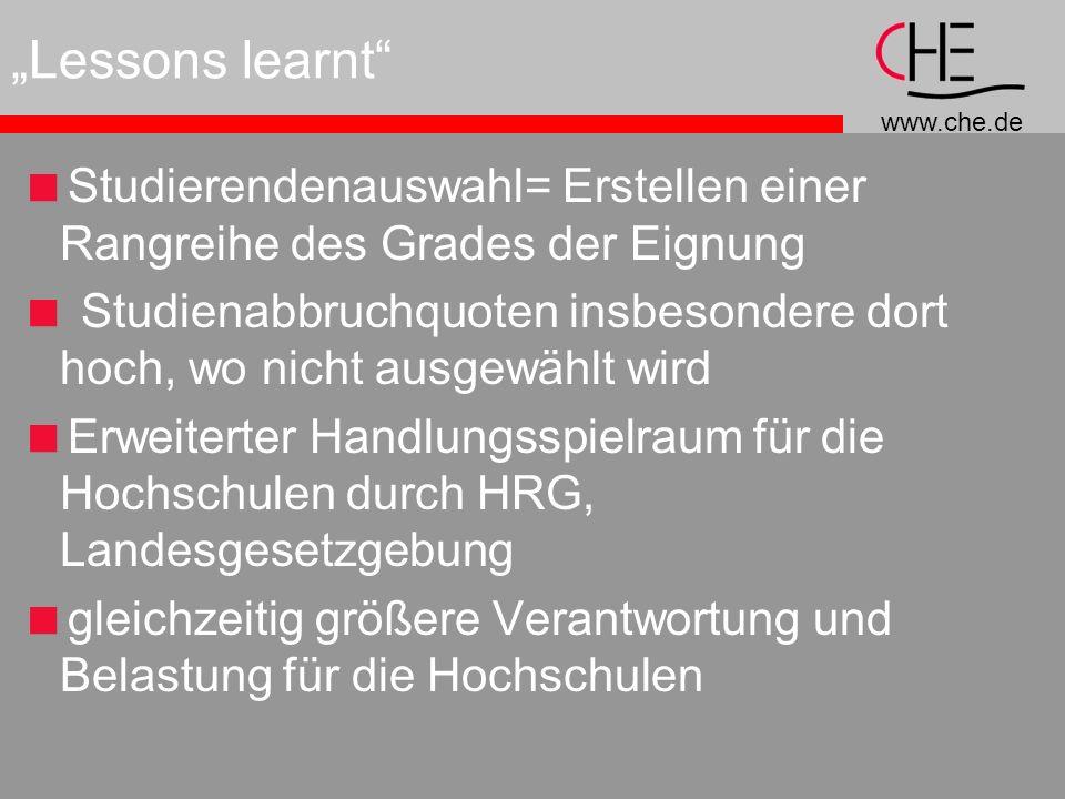 """""""Lessons learnt Studierendenauswahl= Erstellen einer Rangreihe des Grades der Eignung."""