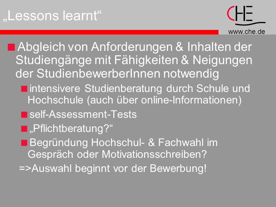 """""""Lessons learnt Abgleich von Anforderungen & Inhalten der Studiengänge mit Fähigkeiten & Neigungen der StudienbewerberInnen notwendig."""
