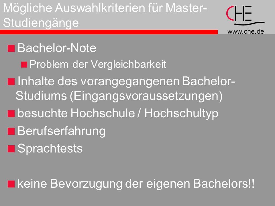 Mögliche Auswahlkriterien für Master-Studiengänge