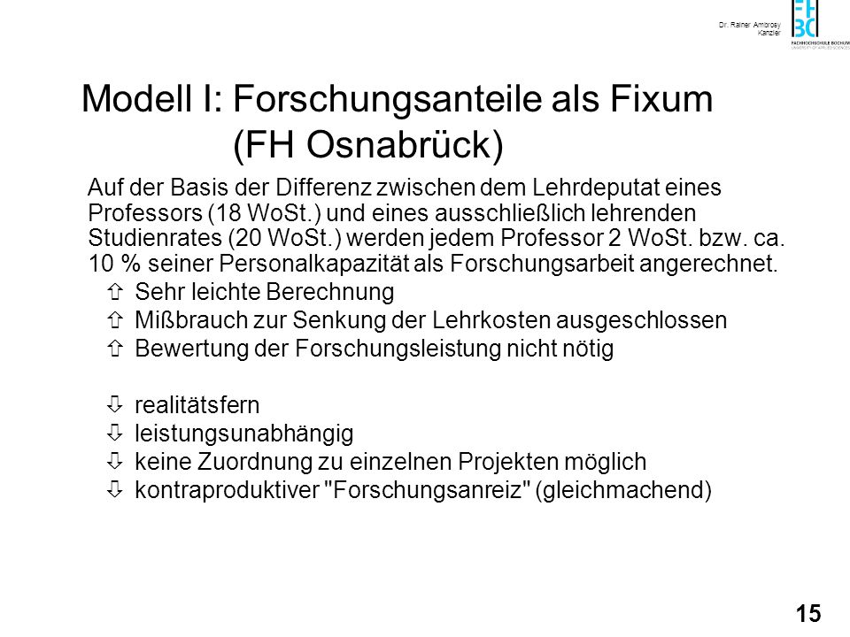 Modell I: Forschungsanteile als Fixum (FH Osnabrück)