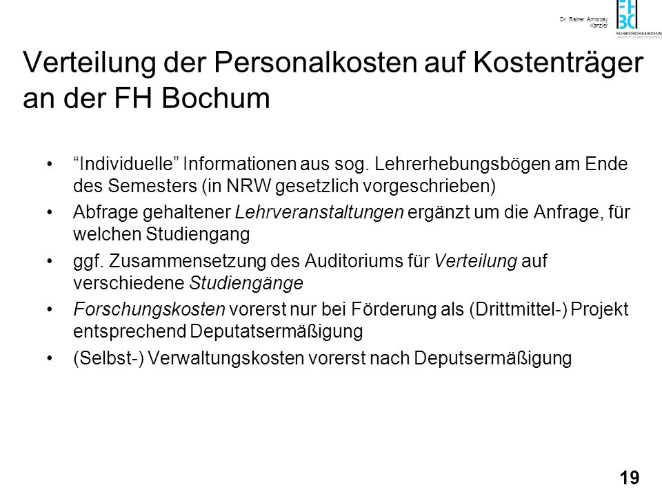 Verteilung der Personalkosten auf Kostenträger an der FH Bochum