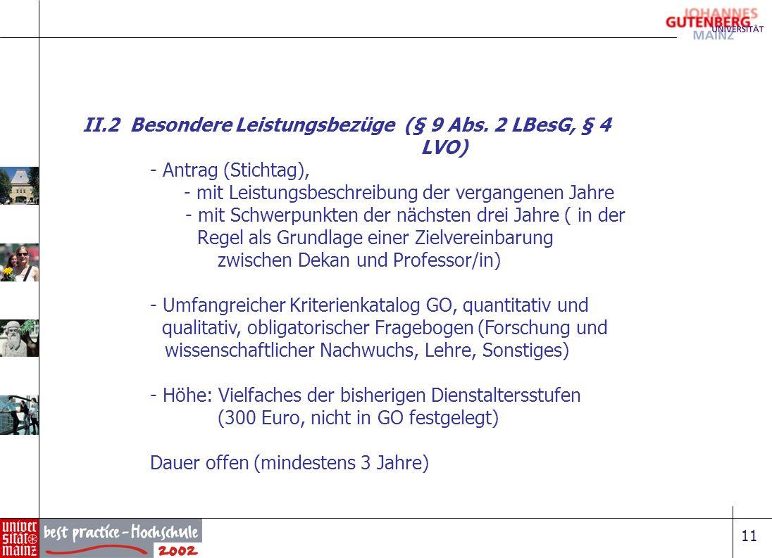 II.2 Besondere Leistungsbezüge (§ 9 Abs. 2 LBesG, § 4 LVO)