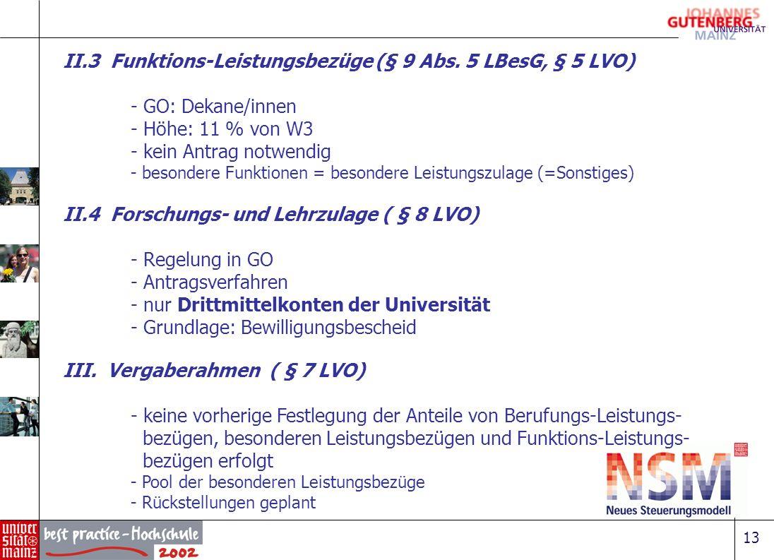 II.3 Funktions-Leistungsbezüge (§ 9 Abs. 5 LBesG, § 5 LVO)