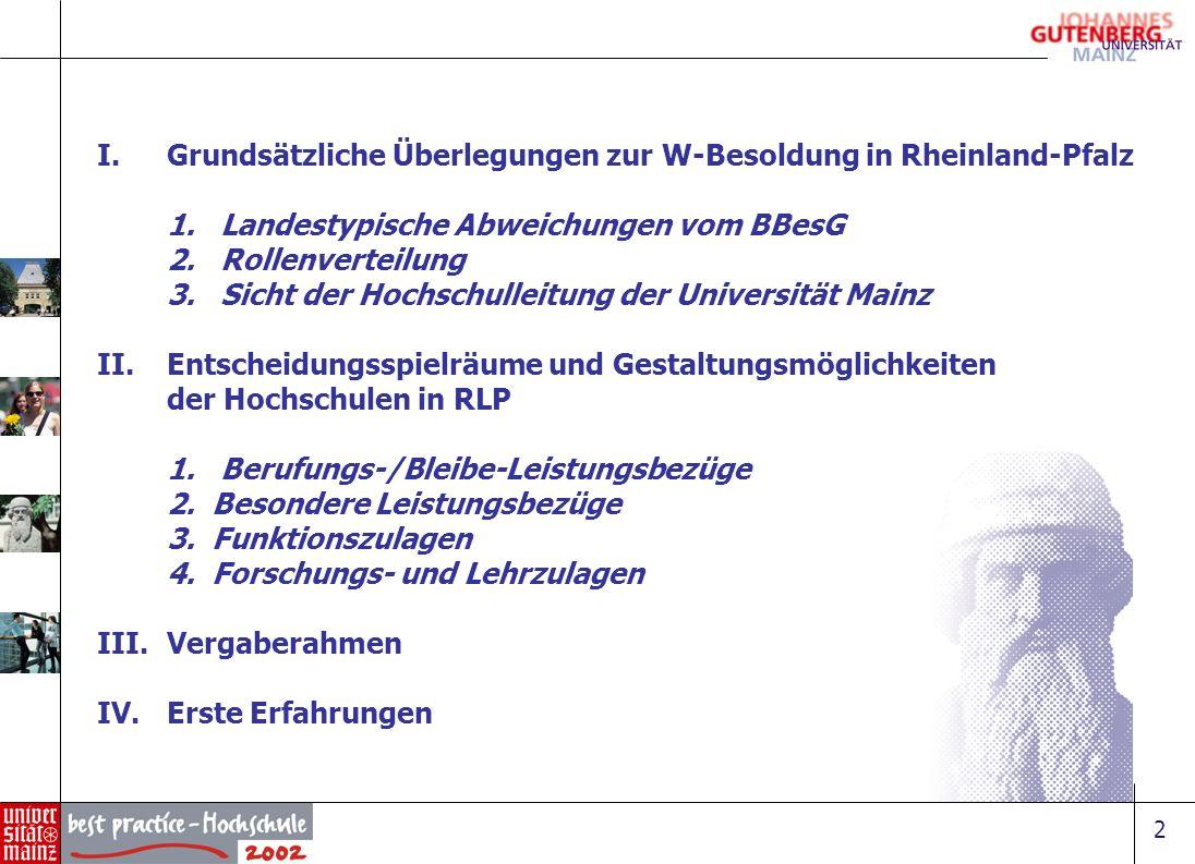 Grundsätzliche Überlegungen zur W-Besoldung in Rheinland-Pfalz