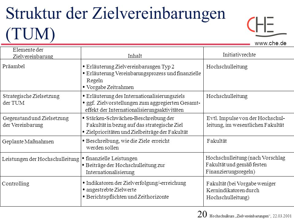 Struktur der Zielvereinbarungen (TUM)