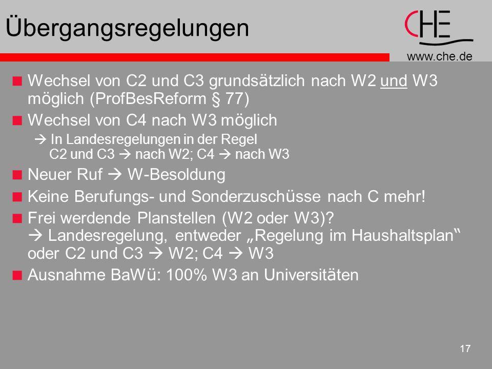 Übergangsregelungen Wechsel von C2 und C3 grundsätzlich nach W2 und W3 möglich (ProfBesReform § 77)
