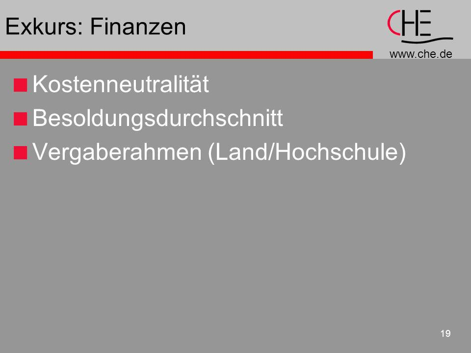 Exkurs: Finanzen Kostenneutralität Besoldungsdurchschnitt Vergaberahmen (Land/Hochschule)