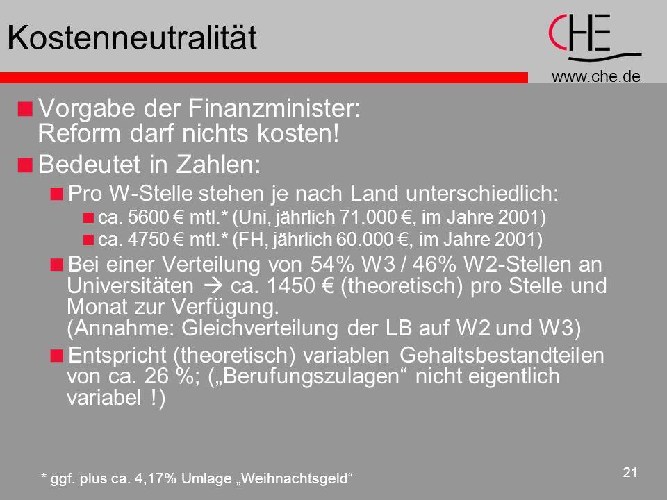 Kostenneutralität Vorgabe der Finanzminister: Reform darf nichts kosten! Bedeutet in Zahlen: Pro W-Stelle stehen je nach Land unterschiedlich: