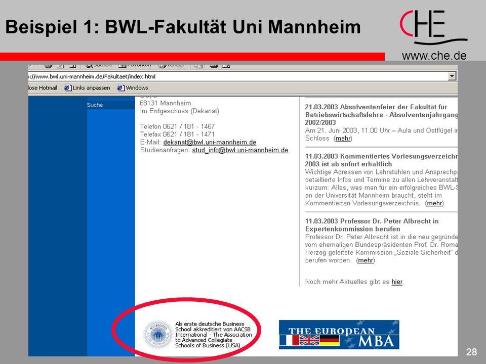 Beispiel 1: BWL-Fakultät Uni Mannheim
