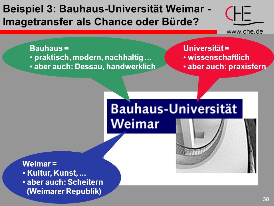 Beispiel 3: Bauhaus-Universität Weimar - Imagetransfer als Chance oder Bürde