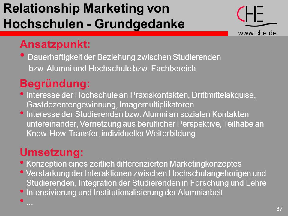 Relationship Marketing von Hochschulen - Grundgedanke