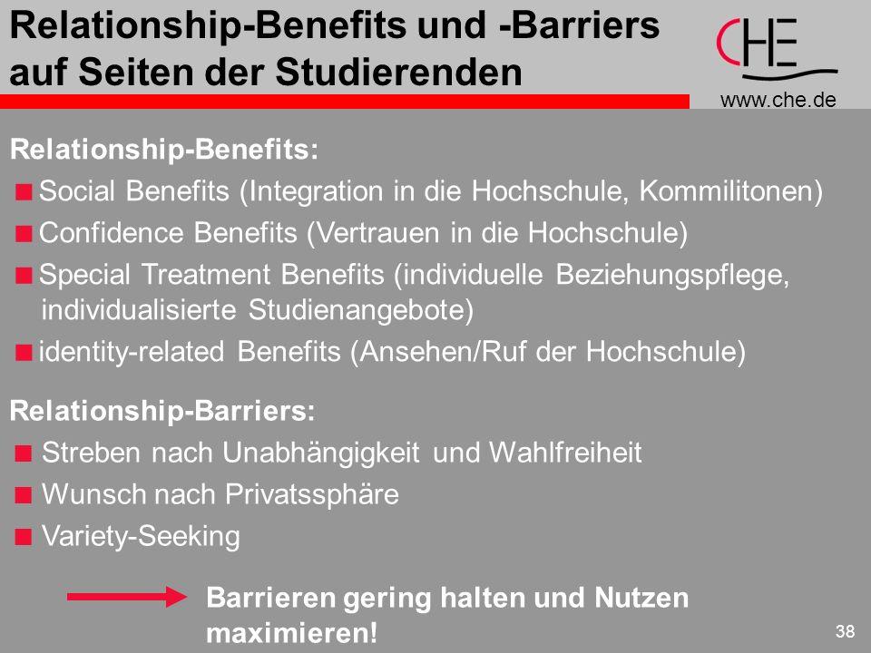Relationship-Benefits und -Barriers auf Seiten der Studierenden