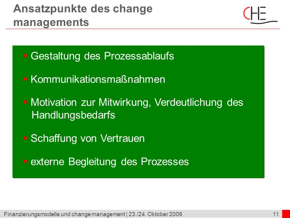 Ansatzpunkte des change managements