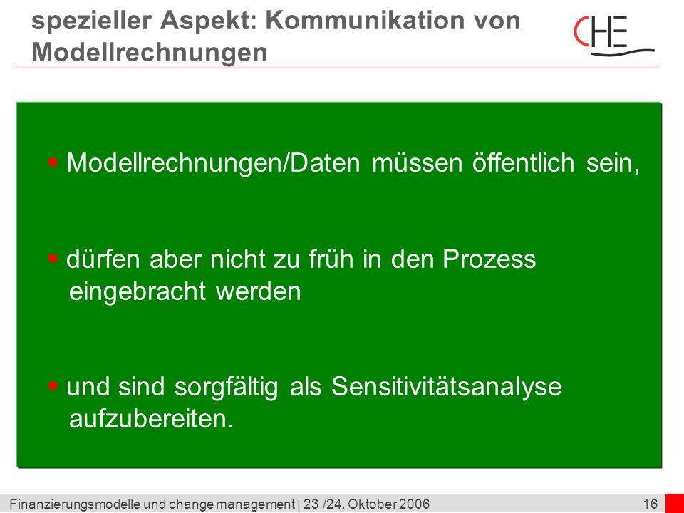 spezieller Aspekt: Kommunikation von Modellrechnungen