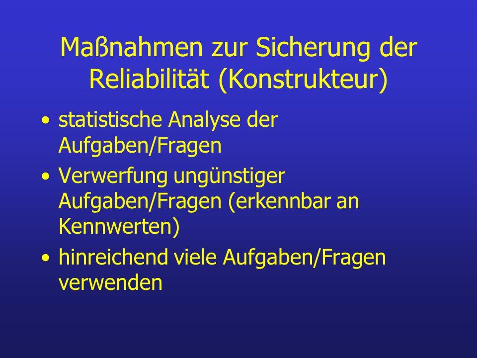 Maßnahmen zur Sicherung der Reliabilität (Konstrukteur)