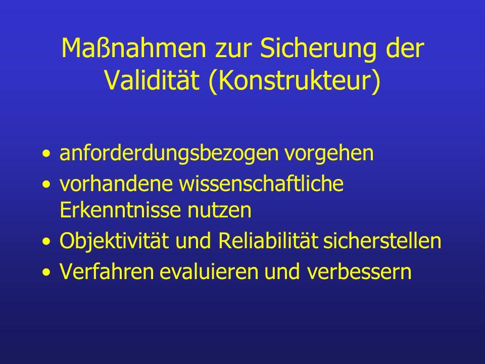 Maßnahmen zur Sicherung der Validität (Konstrukteur)