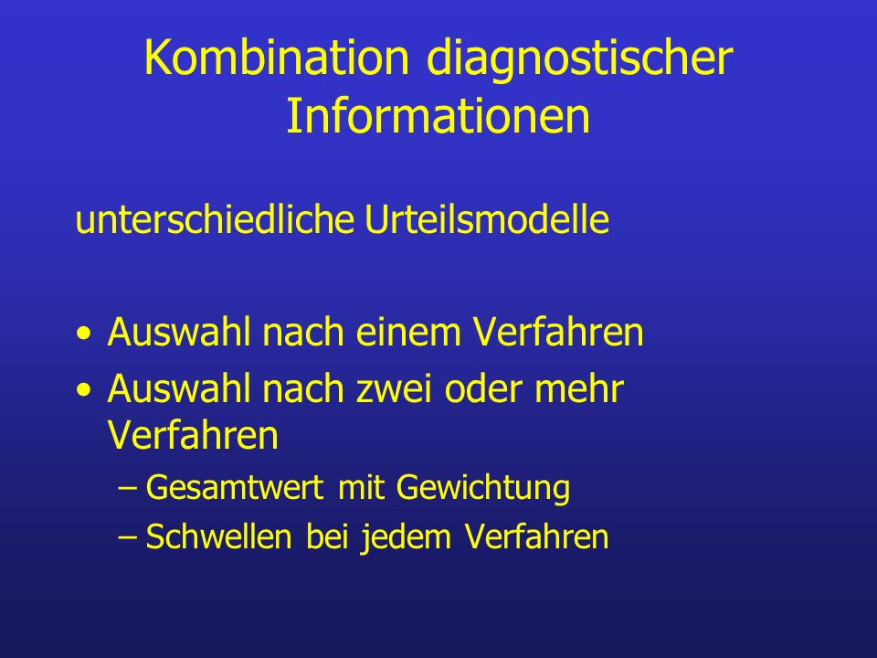 Kombination diagnostischer Informationen