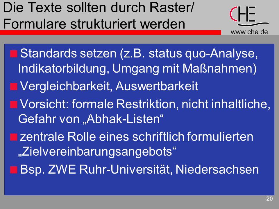 Die Texte sollten durch Raster/ Formulare strukturiert werden
