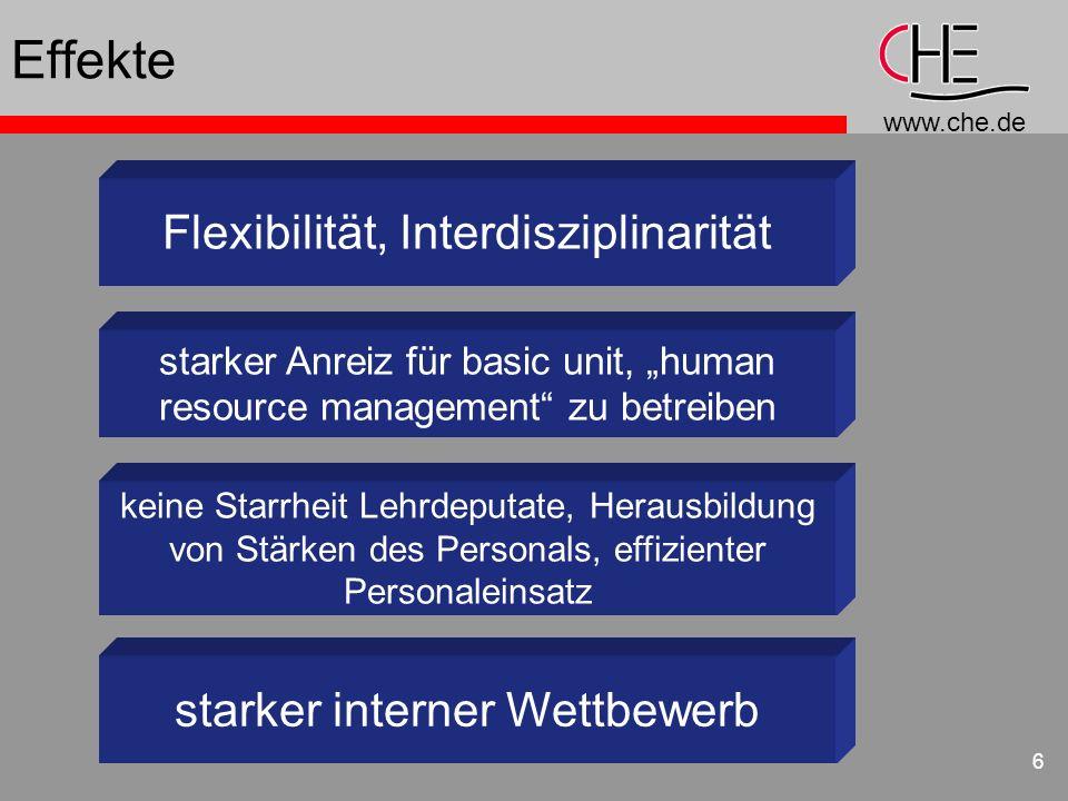 Effekte Flexibilität, Interdisziplinarität starker interner Wettbewerb