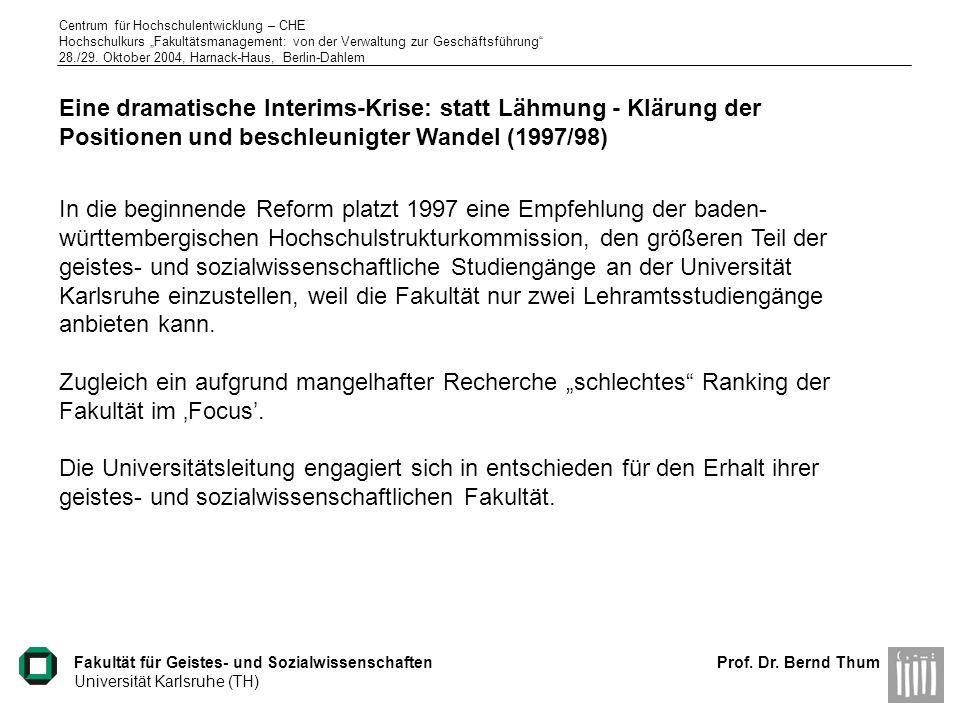 Eine dramatische Interims-Krise: statt Lähmung - Klärung der Positionen und beschleunigter Wandel (1997/98)