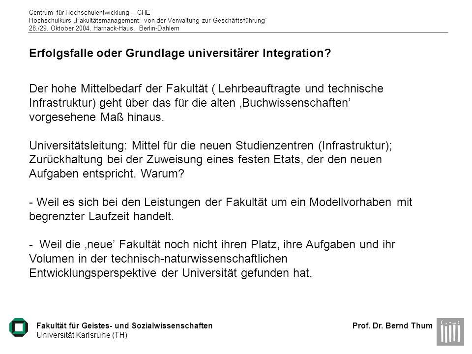 Erfolgsfalle oder Grundlage universitärer Integration