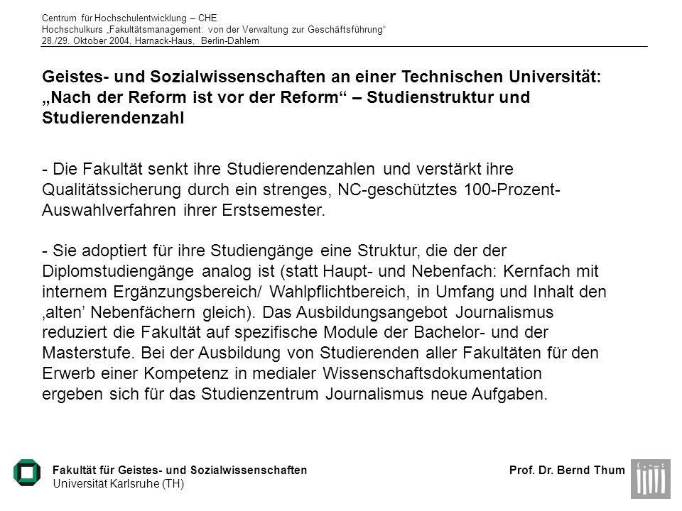 """Geistes- und Sozialwissenschaften an einer Technischen Universität: """"Nach der Reform ist vor der Reform – Studienstruktur und Studierendenzahl"""