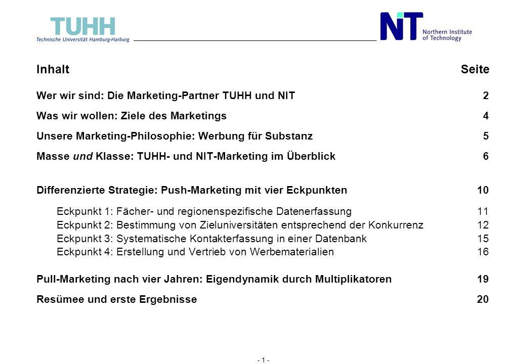 Inhalt Seite Wer wir sind: Die Marketing-Partner TUHH und NIT 2
