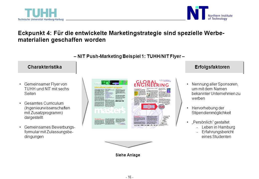 – NIT Push-Marketing Beispiel 1: TUHH/NIT Flyer –