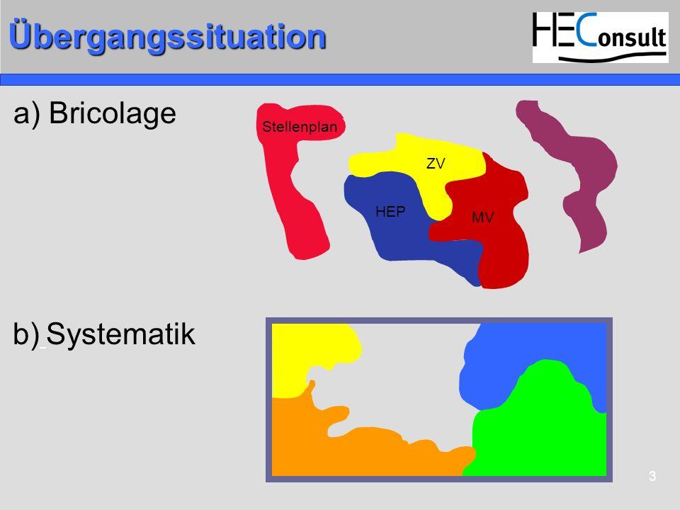 Übergangssituation a) Bricolage Stellenplan ZV MV HEP b) Systematik