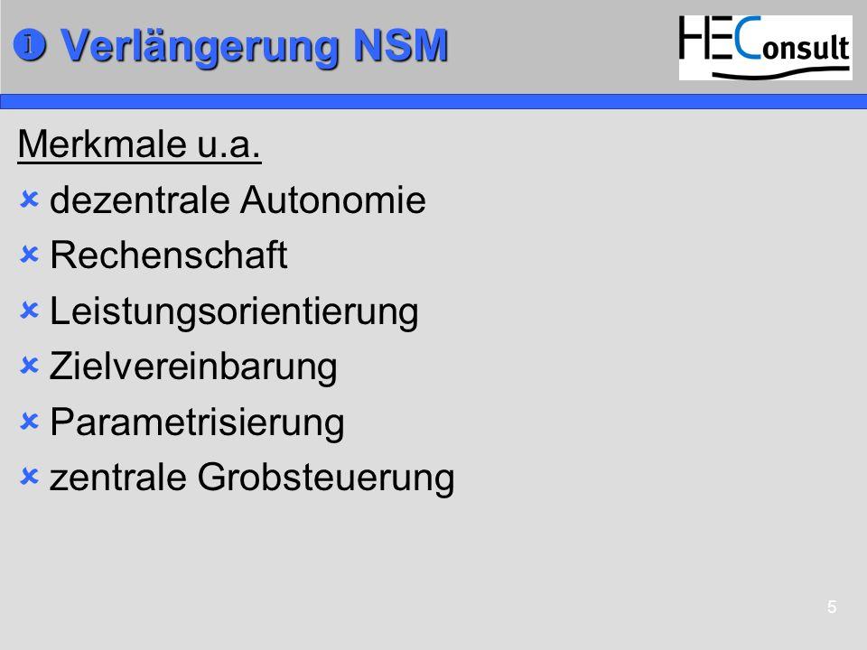  Verlängerung NSM Merkmale u.a. dezentrale Autonomie Rechenschaft
