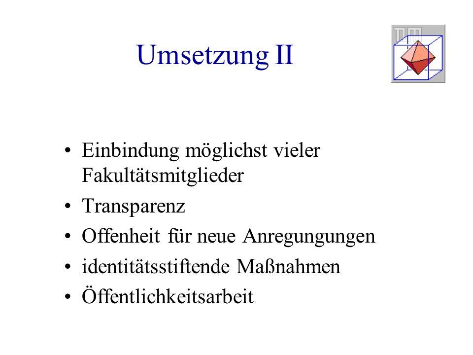 Umsetzung II Einbindung möglichst vieler Fakultätsmitglieder