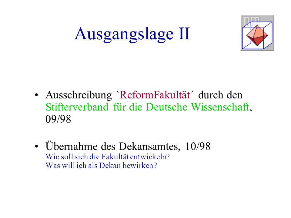 Ausgangslage II Ausschreibung `ReformFakultät´ durch den Stifterverband für die Deutsche Wissenschaft, 09/98.