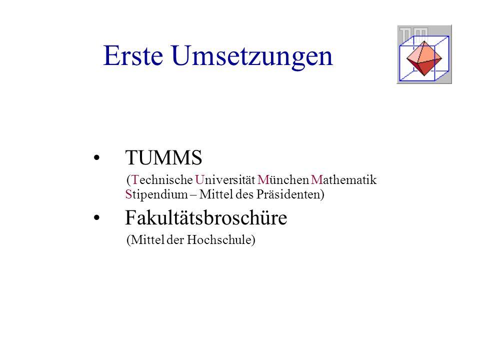 Erste Umsetzungen TUMMS Fakultätsbroschüre
