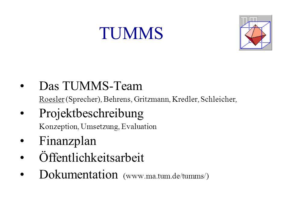 TUMMS Das TUMMS-Team Projektbeschreibung Finanzplan