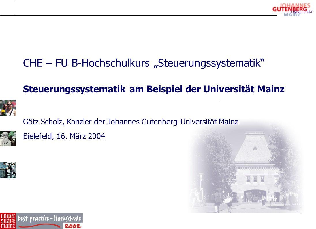 """CHE – FU B-Hochschulkurs """"Steuerungssystematik"""