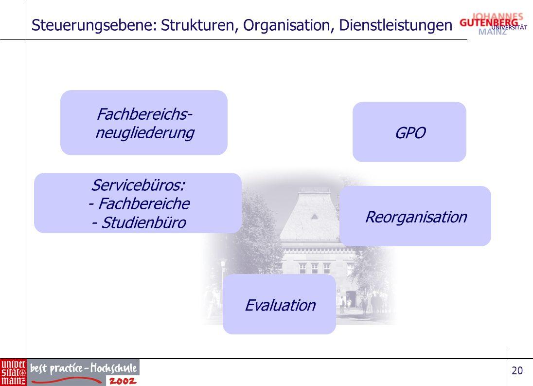 Steuerungsebene: Strukturen, Organisation, Dienstleistungen