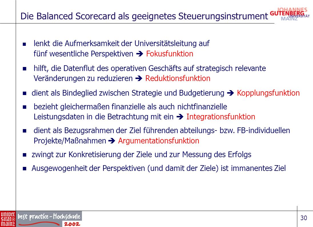 Die Balanced Scorecard als geeignetes Steuerungsinstrument