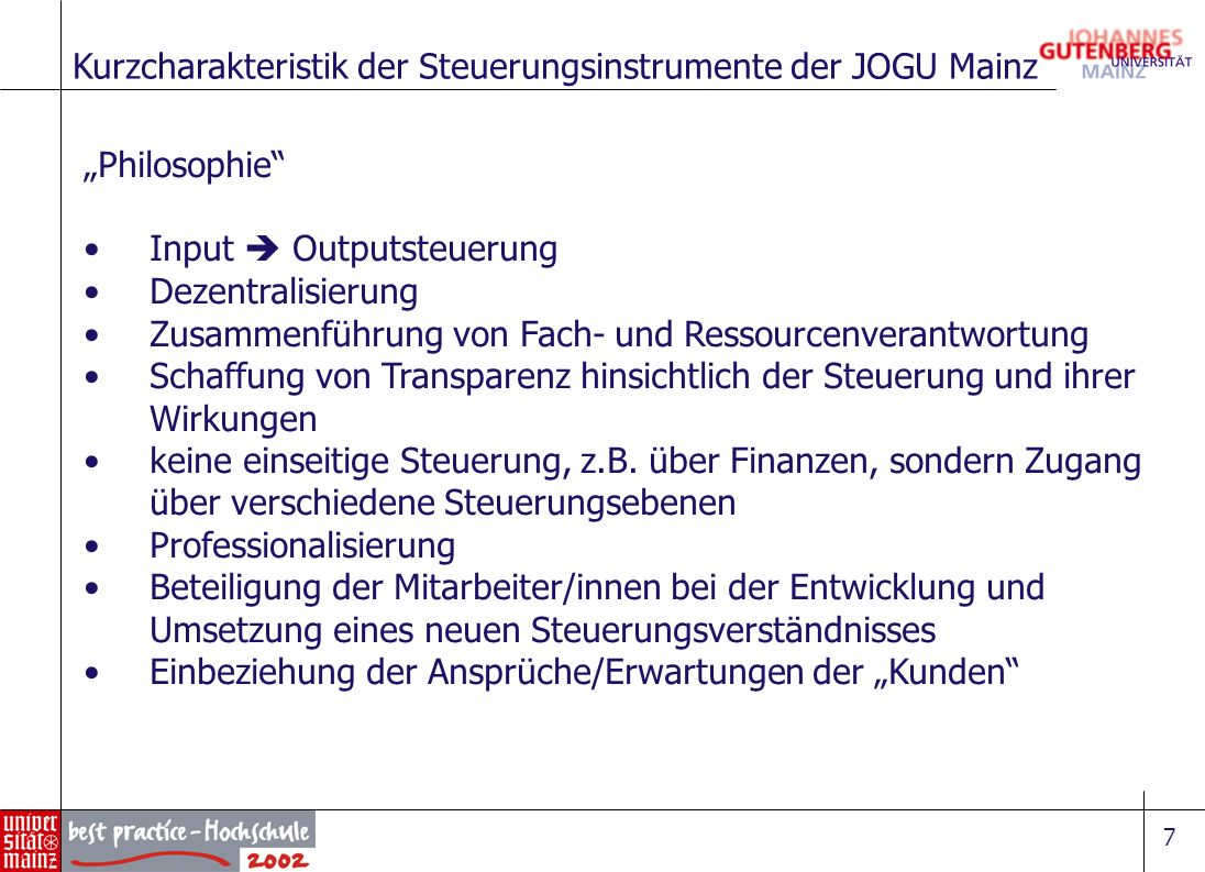 Kurzcharakteristik der Steuerungsinstrumente der JOGU Mainz